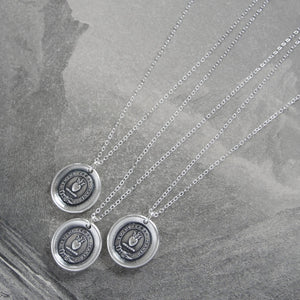 Yield Not To Misfortunes - Silver Wax Seal Necklace With Flaming Heart