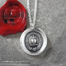 Load image into Gallery viewer, Yield Not To Misfortunes - Silver Wax Seal Necklace With Flaming Heart