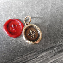 Load image into Gallery viewer, Bronze Fleur De Lis Wax Seal Pendant - Flower of Light - RQP Studio