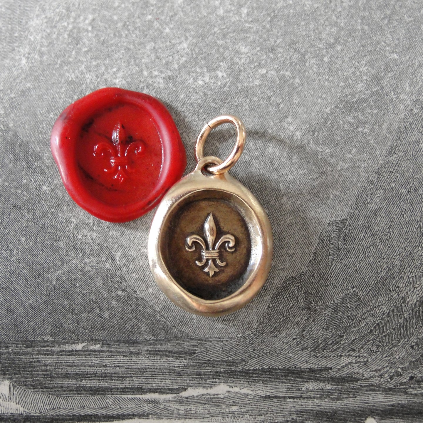 Bronze Fleur De Lis Wax Seal Pendant - Flower of Light - RQP Studio