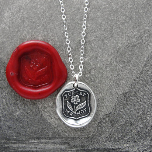 Forget Me Not Wax Seal Necklace - Flower In Silver - RQP Studio