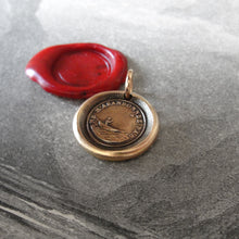 Load image into Gallery viewer, Bronze Wax Seal Pendant - Do Not Leave Me - figure guided by North Star - RQP Studio