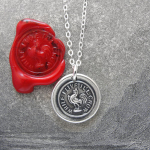 While I Live I'll Crow - Silver Gamecock Wax Seal Necklace Stay Cocky - RQP Studio
