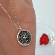 Load image into Gallery viewer, While I Live I'll Crow - Silver Gamecock Wax Seal Necklace Stay Cocky - RQP Studio