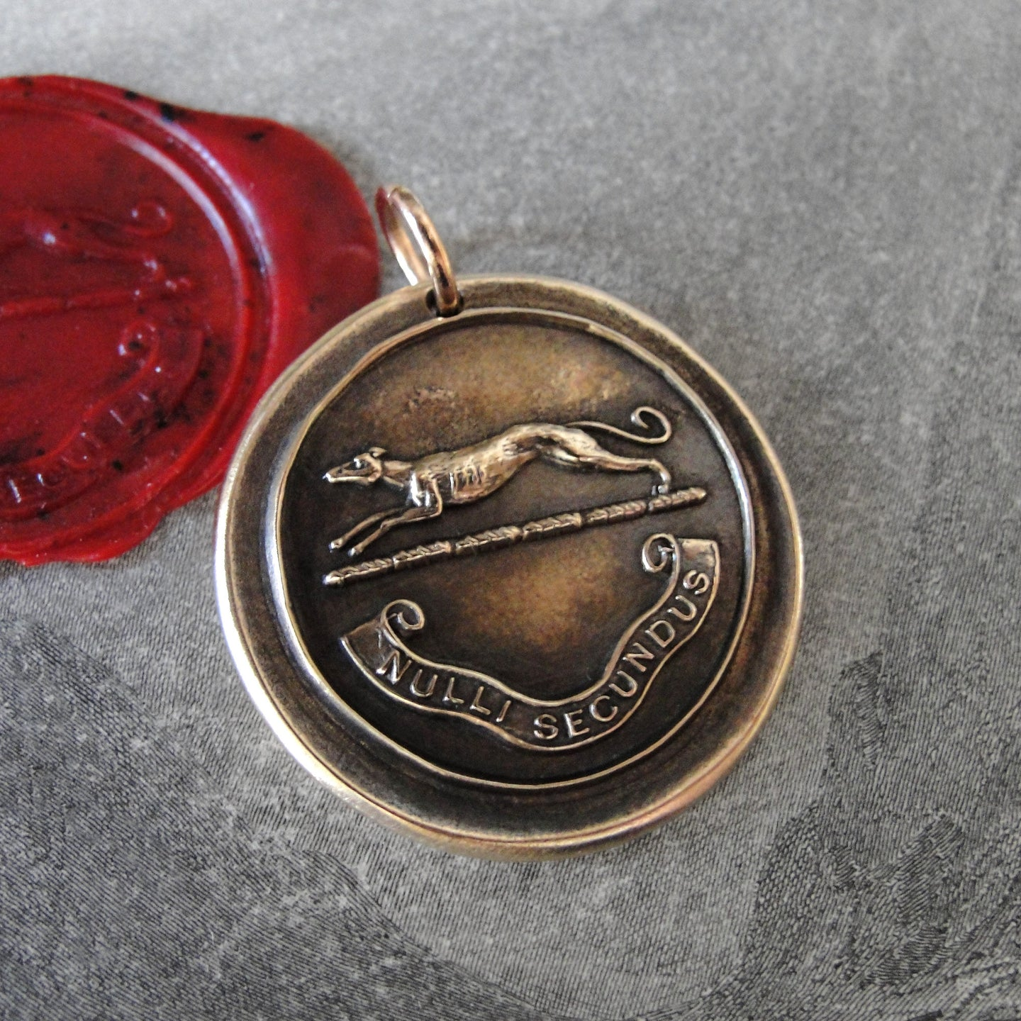 Greyhound Wax Seal Pendant - Second To None - antique dog wax seal charm jewelry - RQP Studio