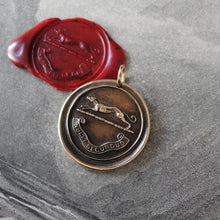 Load image into Gallery viewer, Greyhound Wax Seal Pendant - Second To None - antique dog wax seal charm jewelry - RQP Studio