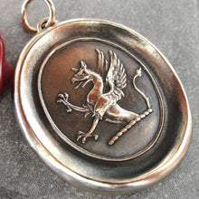 Load image into Gallery viewer, Griffin Wax Seal Pendant - Strength Courage Boldness - antique wax seal jewelry Mythical Gryphon - RQP Studio