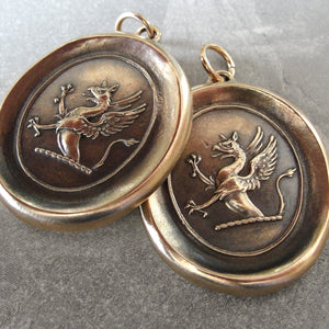 Griffin Wax Seal Pendant - Strength Courage Boldness - antique wax seal jewelry Mythical Gryphon - RQP Studio