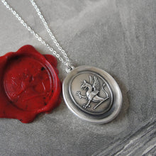 Load image into Gallery viewer, Griffin Wax Seal Necklace - Strength Courage Boldness antique wax seal jewelry Mythical Gryphon - RQP Studio