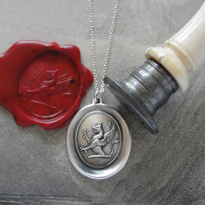 Griffin Wax Seal Necklace - Strength Courage Boldness antique wax seal jewelry Mythical Gryphon - RQP Studio