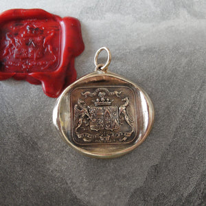Bronze Wax Seal Pendant Griffin and Greyhound - Fear the Vortex - Faithful and Bold - RQP Studio