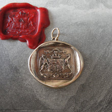 Load image into Gallery viewer, Bronze Wax Seal Pendant Griffin and Greyhound - Fear the Vortex - Faithful and Bold - RQP Studio