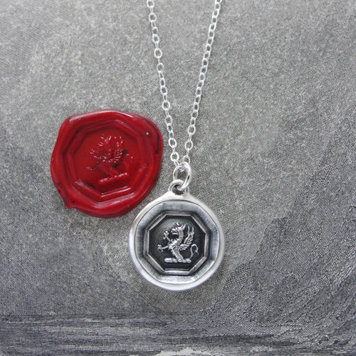 Griffin Wax Seal Necklace - Strength Courage Boldness - silver wax seal charm jewelry - RQP Studio