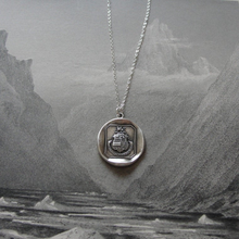 Load image into Gallery viewer, Griffin Wax Seal Necklace In Silver - God Helps Those Who Help Themselves - RQP Studio
