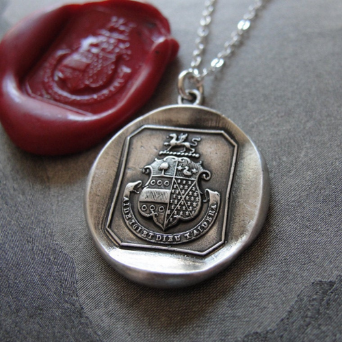 Griffin Wax Seal Necklace In Silver - God Helps Those Who Help Themselves - RQP Studio
