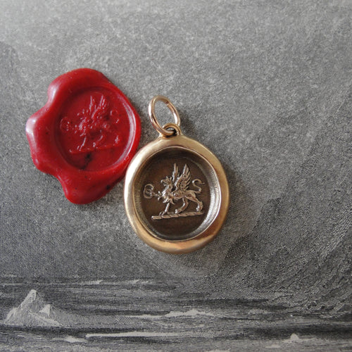 Mark Of Distinction - Griffin Passant Wax Seal Pendant - Strength Courage Boldness - RQP Studio