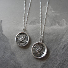 Load image into Gallery viewer, Griffin Wax Seal Necklace in silver - Griffin with Iron Cross - RQP Studio