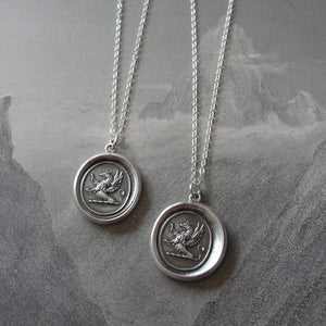 Griffin Wax Seal Necklace in silver - Griffin with Iron Cross - RQP Studio