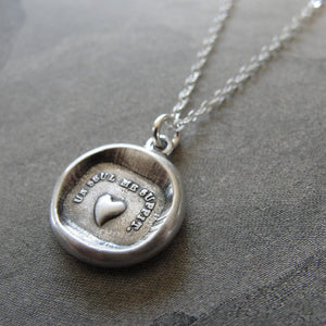Wax Seal Necklace Heart - One Is Enough For Me - antique wax seal charm jewelry French Love Motto - RQP Studio