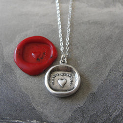 Wax Seal Necklace Heart - One Is Enough For Me - antique wax seal charm jewelry French Love Motto