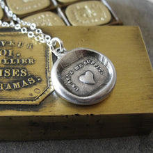 Load image into Gallery viewer, Wax Seal Necklace Heart - One Is Enough For Me - antique wax seal charm jewelry French Love Motto - RQP Studio
