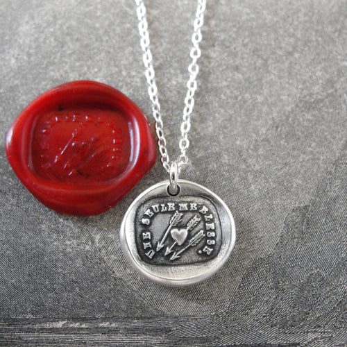 Wax Seal Necklace In Silver Heart Arrow - Only One Wounds Me - True Love - RQP Studio