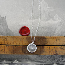 Load image into Gallery viewer, Silver Heart Wax Seal Necklace - My Heart Is Yours motto - RQP Studio