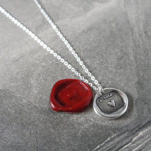 Silver Heart Wax Seal Necklace - My Heart Is Yours motto - RQP Studio