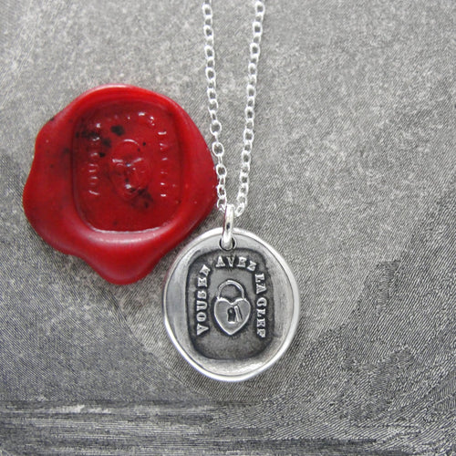 Silver Heart Padlock Wax Seal Necklace - You Have The Key - RQP Studio