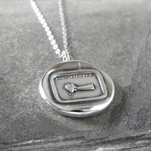 You Deserve More - Silver Wax Seal Necklace Hand Pressing Drops Of Blood From Heart - RQP Studio
