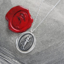Load image into Gallery viewer, Hebe Goddess of Youth - Silver Wax Seal Necklace - RQP Studio