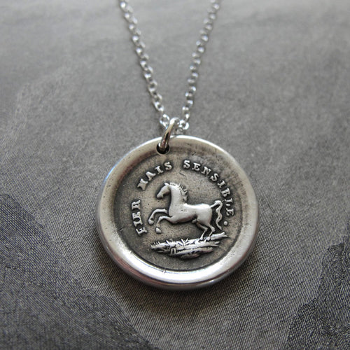 Silver Horse Wax Seal Necklace - High Spirited Yet Sensitive - RQP Studio