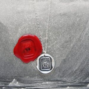 Hold Fast - Silver Wax Seal Necklace With Anchor Hope Motto - RQP Studio