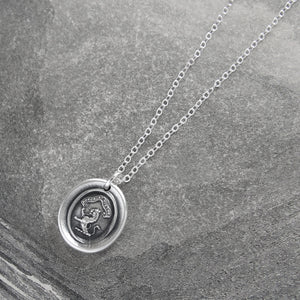 Honor And Virtue - Tiny Silver Lion Wax Seal Necklace Bravery Motto
