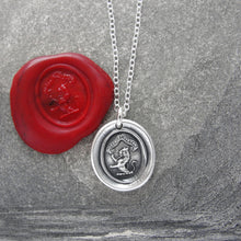 Load image into Gallery viewer, Honor And Virtue - Tiny Silver Lion Wax Seal Necklace Bravery Motto