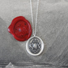 Load image into Gallery viewer, Honor Guide My Steps - Silver Wax Seal Necklace With Rampant Lions