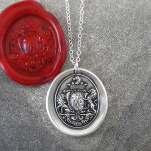 Honor Guide My Steps - Silver Wax Seal Necklace With Rampant Lions