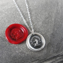 Load image into Gallery viewer, I Press Forward - Silver Wax Seal Necklace With Horse