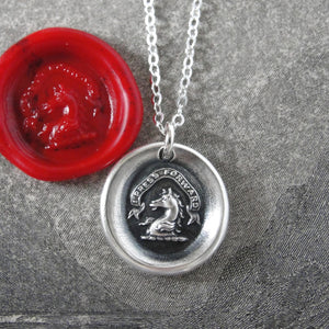 I Press Forward - Silver Wax Seal Necklace With Horse