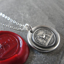 Load image into Gallery viewer, Horse Wax Seal Necklace - High Spirited Proud Yet Gentle - antique wax seal charm jewelry - RQP Studio