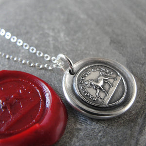Horse Wax Seal Necklace - High Spirited Proud Yet Gentle - antique wax seal charm jewelry - RQP Studio