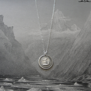 Horse Wax Seal Necklace In Silver - Obstacles Raise My Passion - RQP Studio