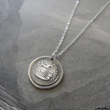 Load image into Gallery viewer, Horse Wax Seal Necklace In Silver - Obstacles Raise My Passion - RQP Studio