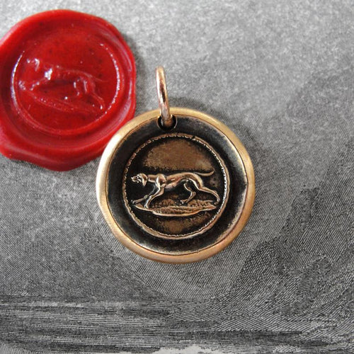 Hunting Dog Wax Seal Pendant - antique hound dog wax seal jewelry charm - RQP Studio