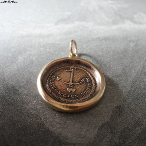 Anchor wax seal pendant Hope Supports antique wax seal jewelry - French motto and hearts - RQP Studio