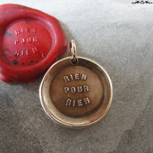 Load image into Gallery viewer, Everything Has A Price Wax Seal Charm - antique wax seal charm jewelry - French motto quote proverb pendant - RQP Studio