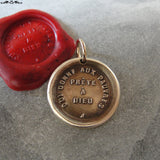 Charity Will Be Rewarded Wax Seal Charm - antique wax seal charm jewelry French motto quote proverb pendant