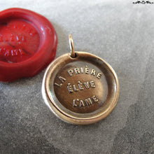 Load image into Gallery viewer, Prayer Uplifts The Soul Wax Seal Charm - antique wax seal charm jewelry French motto quote proverb pendant - RQP Studio