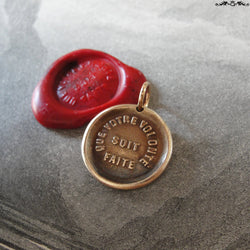 Lord's Prayer Wax Seal Charm - antique wax seal pendant jewelry - French bible quote Thy Will Be Done