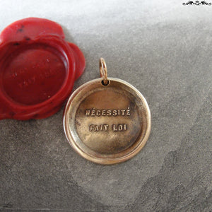 Necessity Knows No Law Wax Seal Charm - antique wax seal charm jewelry pendant - RQP Studio